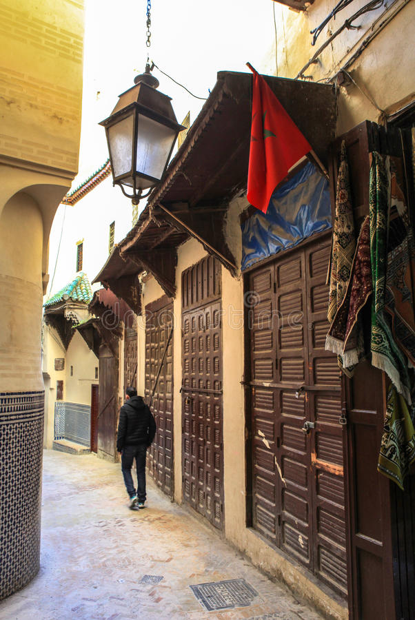 Medina of Fez in Morocco. Founded in the 9th century and home to the oldest university in the world, Fez reached its height in the 13th–14th centuries stock photos