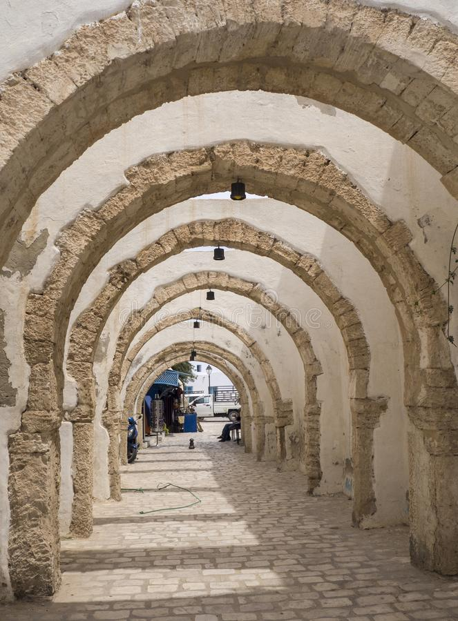 Medina in Sousse in sun, Tunisia. Place to buy things royalty free stock photos