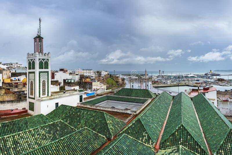 Medina van Tanger met een minaret en kasbah royalty-vrije stock foto's