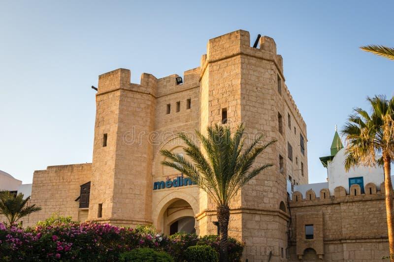 Medina z drzewkiem palmowym, Yasmine Hammamet, Tunezja obraz royalty free