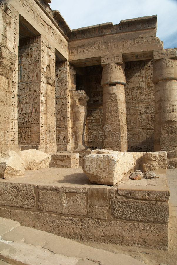 Medinet Habu古老埃及寺庙 免版税库存图片