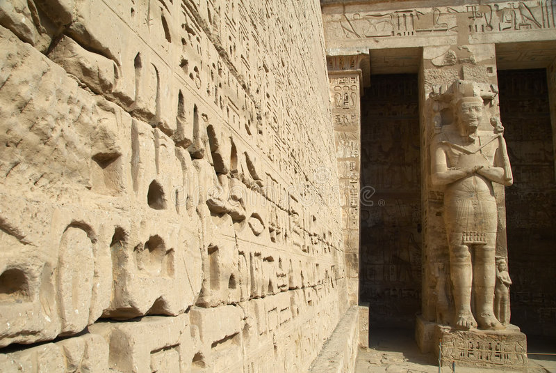Medinet Habu古老埃及寺庙 库存图片