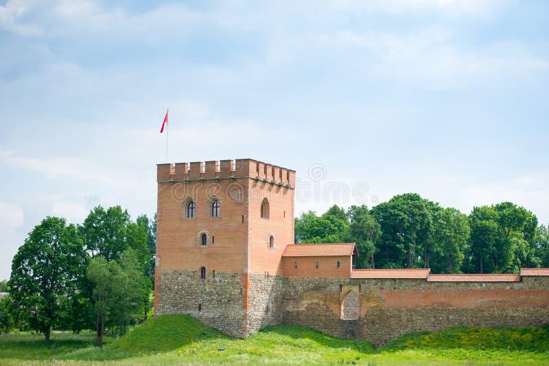 Medininkaikasteel, een middeleeuws kasteel in Vilnius-district, Litouwen stock afbeelding