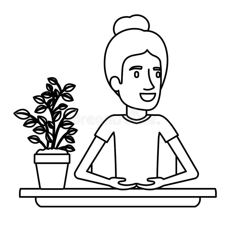 Medio ayudante de la mujer del cuerpo del primer negro de la silueta en escritorio con el pelo recogido ilustración del vector