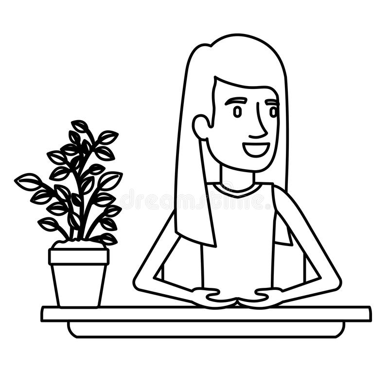 Medio ayudante de la mujer del cuerpo del primer negro de la silueta en escritorio con el redhair largo recto stock de ilustración