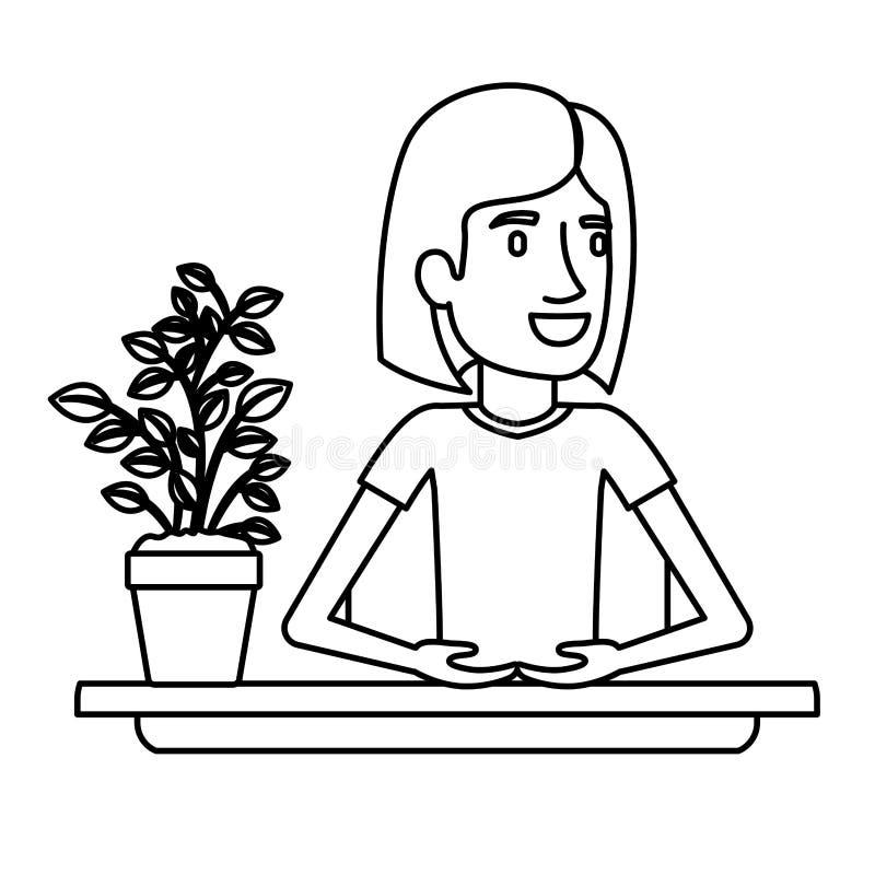 Medio ayudante de la mujer del cuerpo de la silueta negra en escritorio con el pelo corto ilustración del vector