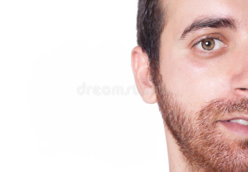 Medio cierre de la cara del hombre hermoso para arriba foto de archivo libre de regalías