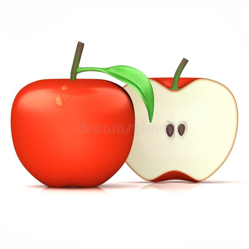 Medio corte de la manzana roja fotos de archivo