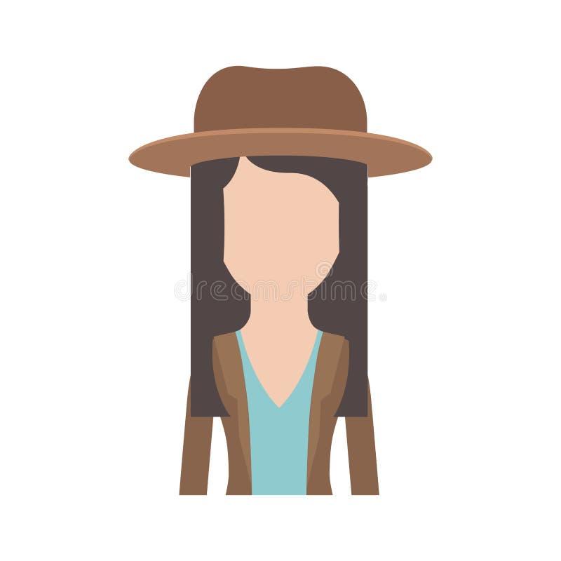 Medio cuerpo de la mujer anónima con el sombrero y la blusa con la chaqueta y el pelo acodado en silueta colorida libre illustration
