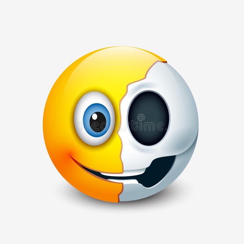 Medio emoticon del cráneo, emoji - vector el ejemplo stock de ilustración