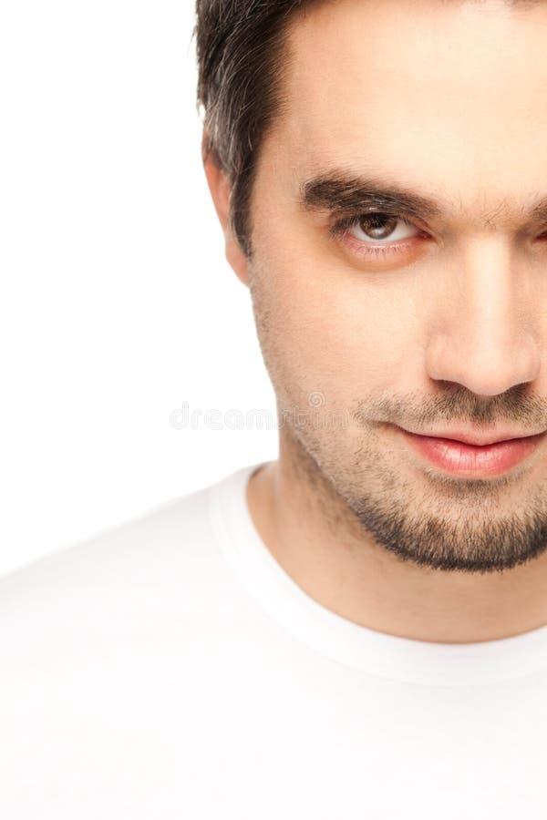 Medio hombre Oc Caucasion de la cara en blanco imagenes de archivo