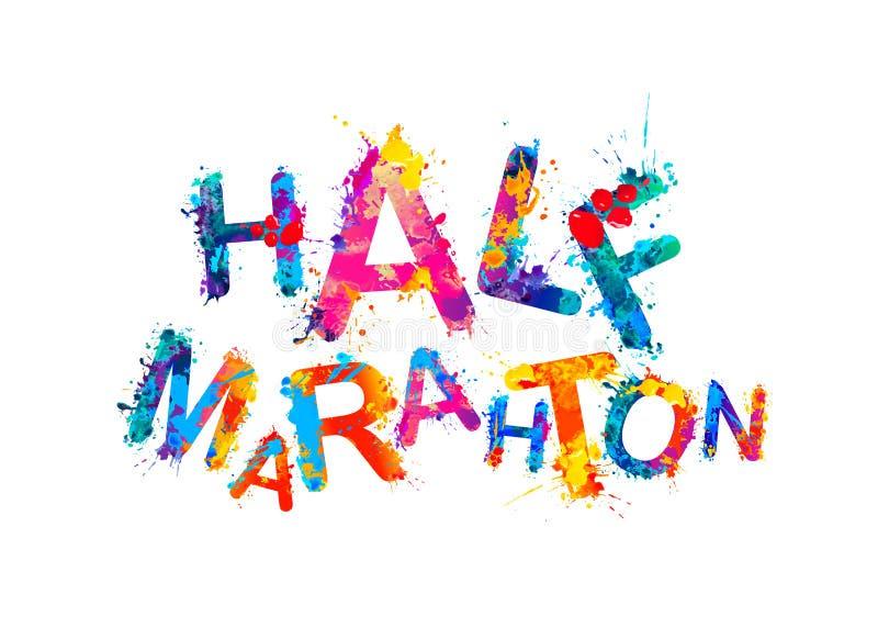 Medio maratón Palabra de las letras de la pintura del chapoteo libre illustration