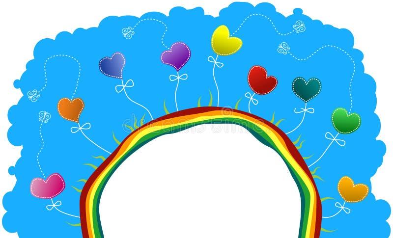 Medio mundo con los corazones y las mariposas stock de ilustración