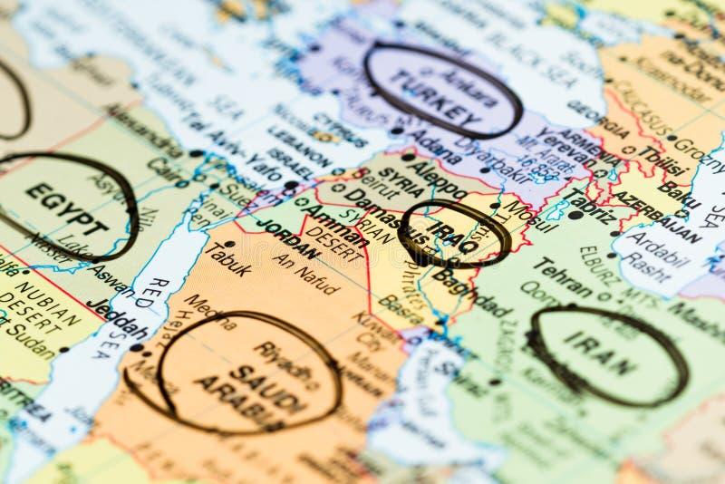 Medio Oriente su una mappa immagini stock