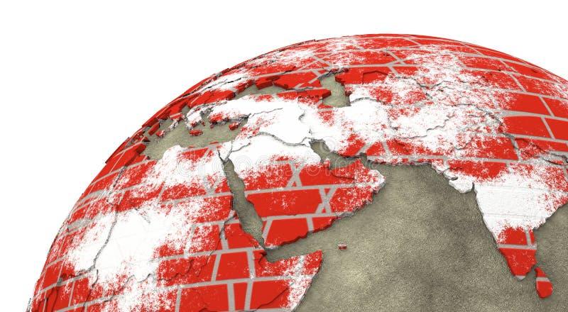 Medio Oriente sulla terra del muro di mattoni illustrazione vettoriale