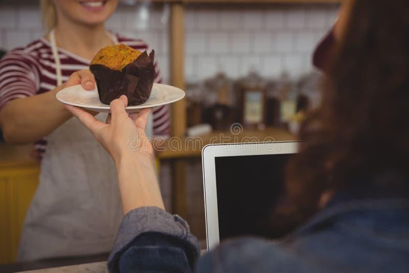 Medio sectie van eigenaar dienende muffin aan klant royalty-vrije stock foto's