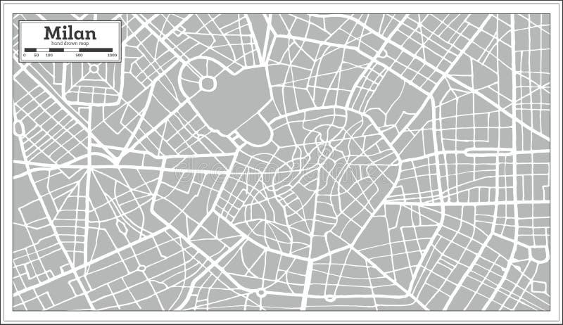 Mediolańska mapa w Retro stylu ręka patroszona ilustracji