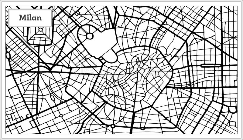 Mediolańska Włochy miasta mapa w Czarny I Biały kolorze royalty ilustracja