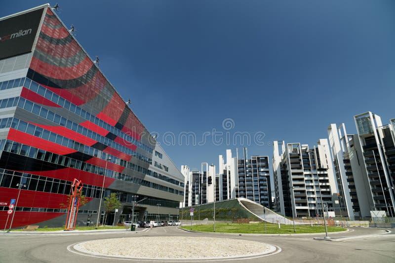 Mediolański Włochy nowożytni budynki przy Portello obraz stock