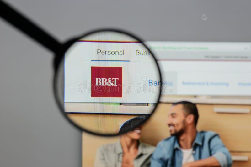Mediolan Włochy, Sierpień, - 10, 2017: BB&T Corp logo na stronie internetowej h fotografia stock