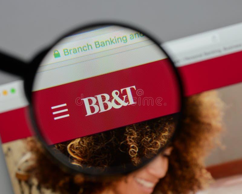 Mediolan Włochy, Sierpień, - 10, 2017: BB&T Corp logo na stronie internetowej h obraz stock