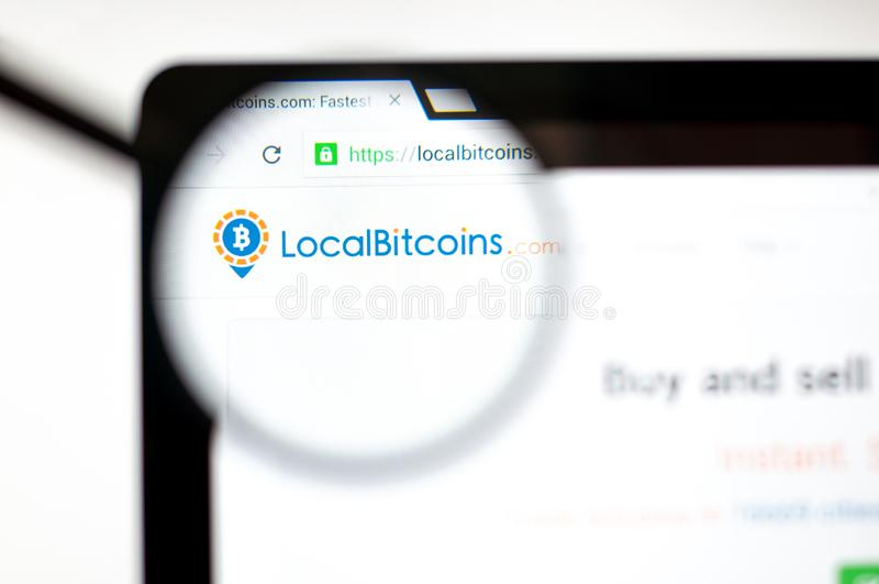 Mediolan Włochy, Sierpień, - 20, 2018: Localbitcoins strony internetowej homepage Localbitcoins logo widoczny royalty ilustracja