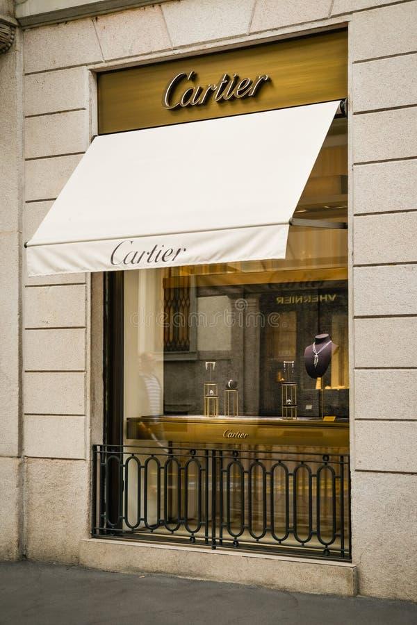 Mediolan Włochy, Wrzesień, - 24, 2017: Cartier sklep w Mediolan Fash zdjęcia stock