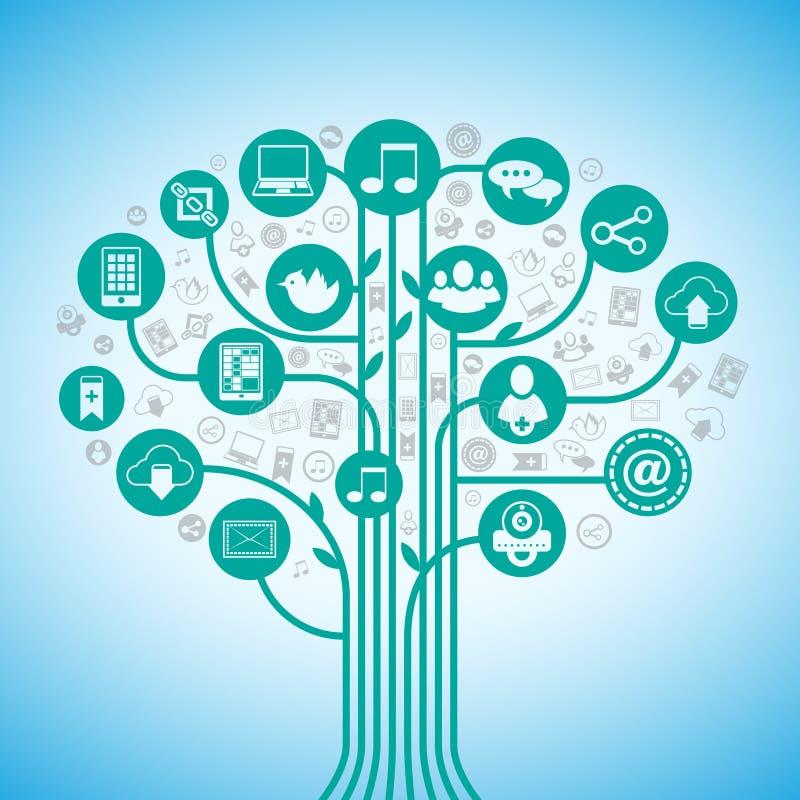 Medios árbol social stock de ilustración