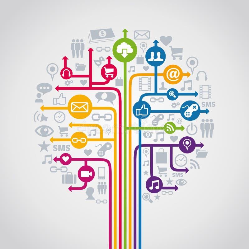 Medios árbol social del concepto stock de ilustración