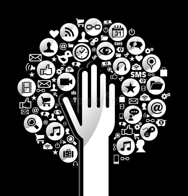 Medios árbol social global de la mano stock de ilustración