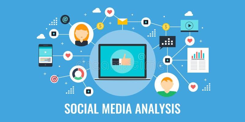 Medios análisis social, datos, información, investigación para comercializar Bandera plana del vector del diseño stock de ilustración