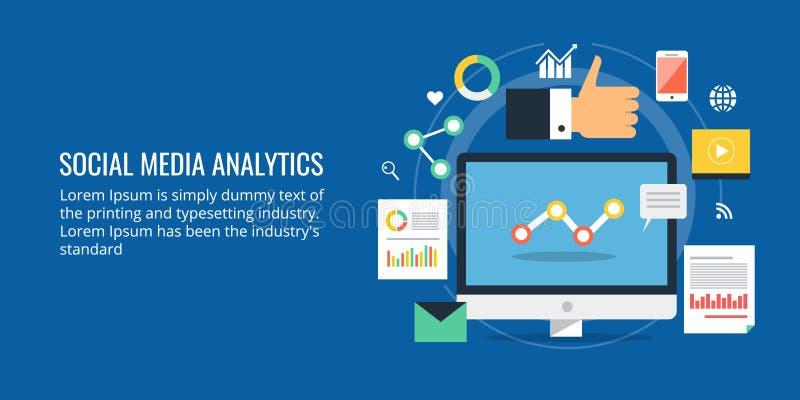 Medios analytics social - medios análisis de datos social - estudio de mercado digital Bandera social del diseño plano medios libre illustration