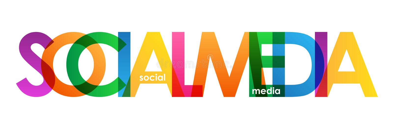 MEDIOS bandera traslapada colorida SOCIAL de las letras libre illustration