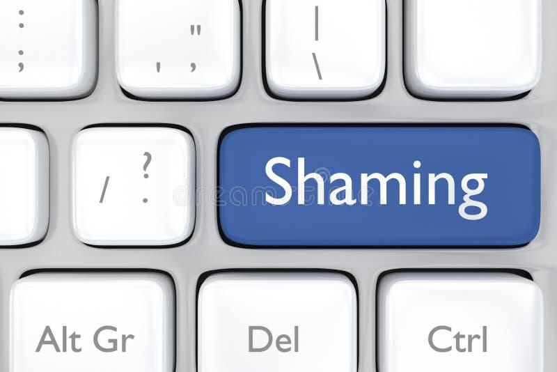 Medios botón shaming social stock de ilustración