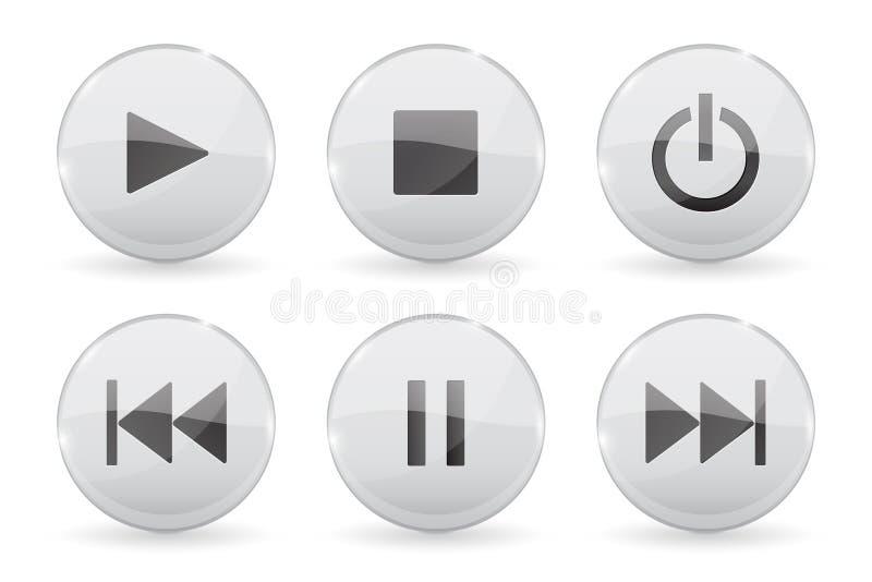 Medios botones de cristal Iconos brillantes audios o video blancos 3d stock de ilustración