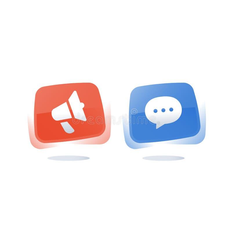 Medios botones de la burbuja del concepto, del megáfono y del discurso, información separada stock de ilustración