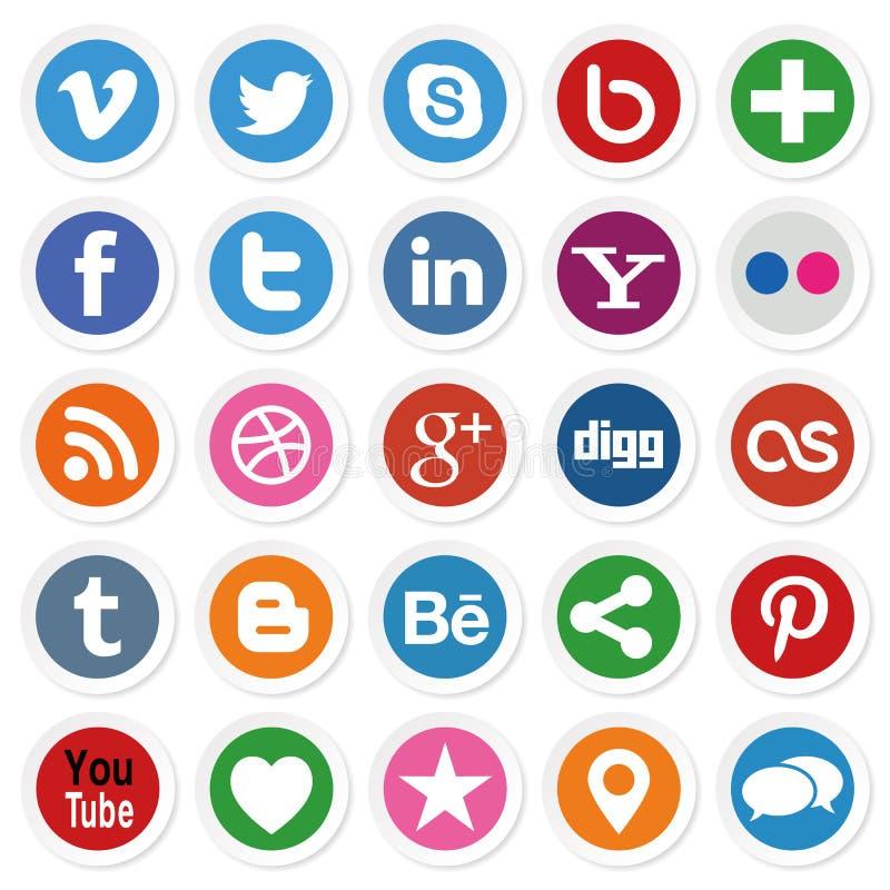 Medios botones sociales stock de ilustración