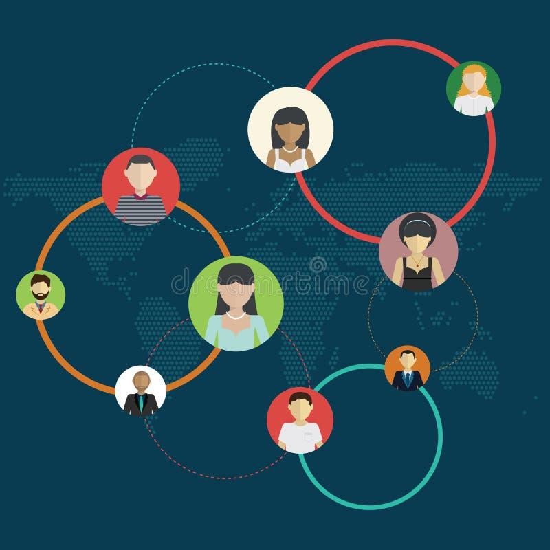 Medios círculos sociales, ejemplo de la red, red social, gente que conecta por todo el mundo stock de ilustración