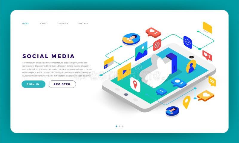 Medios Cocept social ilustración del vector