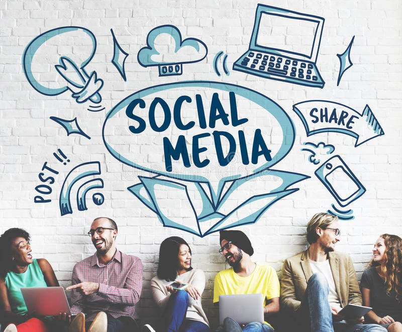 Medios concepto en línea social de los iconos de la parte de los posts imagen de archivo