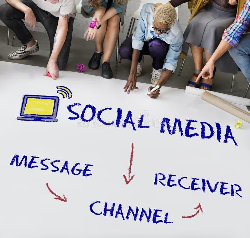 Medios concepto social de la conectividad del canal fotografía de archivo