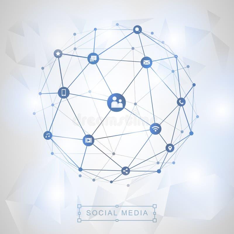 Medios concepto social de la conexión stock de ilustración