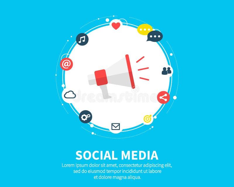 Medios concepto social de la conexión Fondo abstracto con los círculos y los iconos integrados para digital, Internet, red ilustración del vector