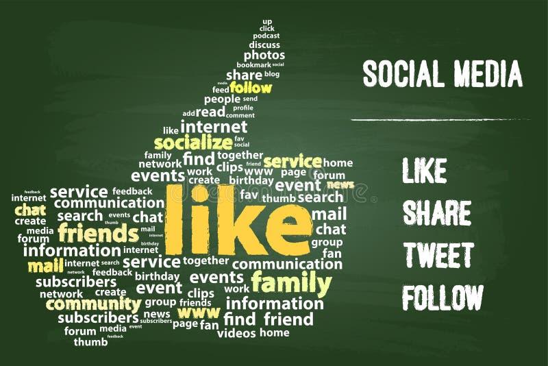 Medios concepto social de la palabra stock de ilustración