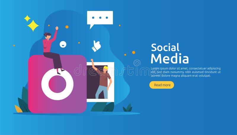 Medios concepto social de la red y del influencer con el carácter de la gente joven en estilo plano plantilla del ejemplo para la ilustración del vector