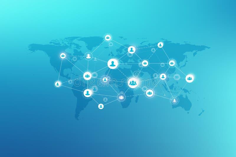 Medios concepto social de la red y del márketing en fondo del mapa del mundo Concepto del negocio global y tecnología de Internet stock de ilustración