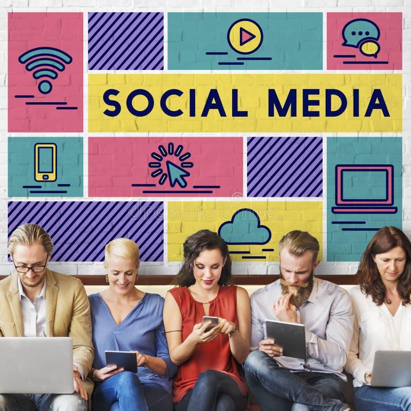 Medios concepto social del gráfico de la gente de la tecnología fotos de archivo
