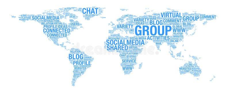 Medios concepto social en el ejemplo del mapa del mundo en collage de la palabra stock de ilustración