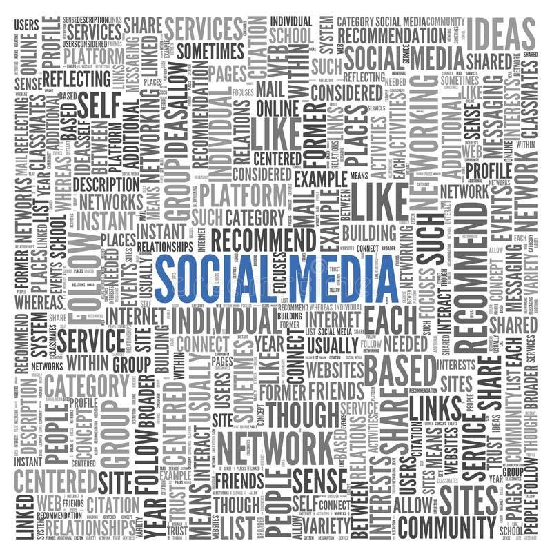 Medios concepto social en nube de la etiqueta de la palabra ilustración del vector