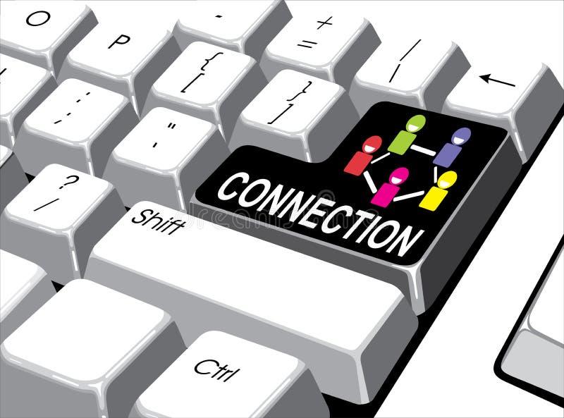Medios concepto social: Entre en el botón con la conexión en el ordenador stock de ilustración